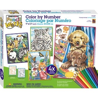 "Friendly Animals - Pencil Works Color By Number Kit 9""X12"" 4/Pkg"