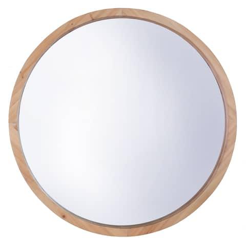 "22"" DIA Round MDF Wall Mirror, Natural Brown Modern Large Circle Decor - 22x22"