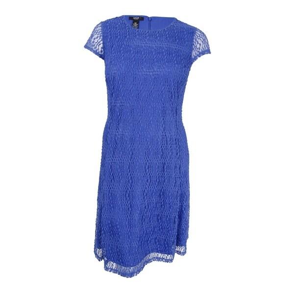 Shop Alfani Women S Fit Amp Flare Lace Dress 14 Pery Blue
