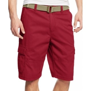 American Rag NEW Red Mens Size 34 Belted Relaxed-Fit Cargo Shorts