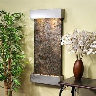 Adagio Whispering Creek Fountain w/ Green Natural Slate in Silver Metallic Finis