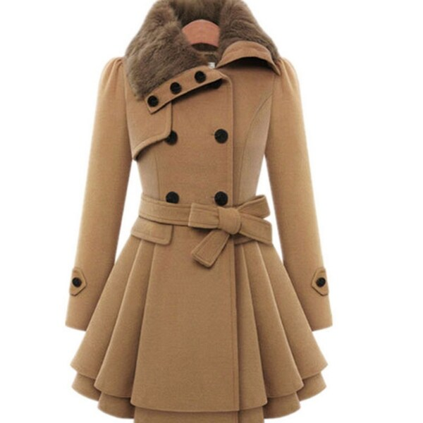 Womens Slim Trench Coats Fur Collar Peacoat Winter Woolen Coat Jackets Outwear. Opens flyout.