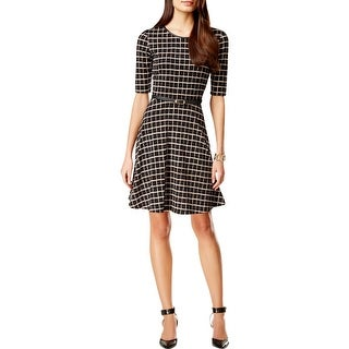 Connected Apparel Womens Casual Dress Pattern Faux Trim - 14
