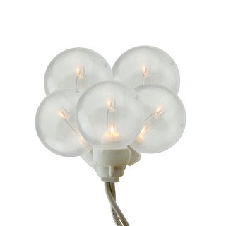 Set of 100 Clear G30 Globe Icicle Christmas Lights - White Wire