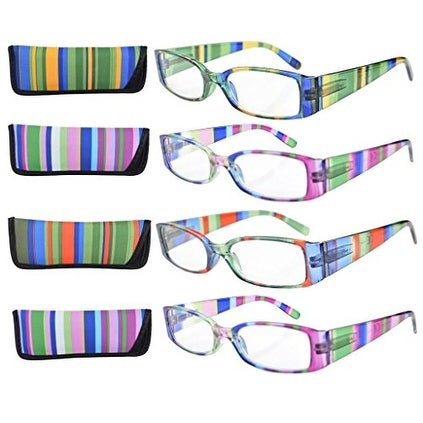 Eyekepper 4-Pack Striped Temples Spring Hinge Reading Glasses +4.0