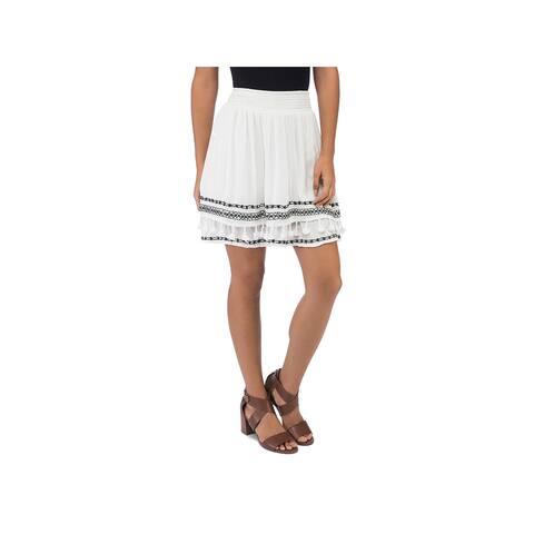 Bobeau Womens Monroe A-Line Skirt Embroidered Above Knee
