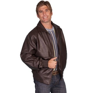 Scully Western Jacket Mens Lamb Leather Knit Waist Zip Front - brown lamb
