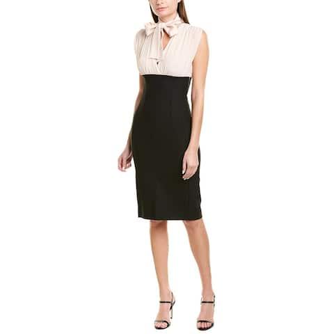 Pinko Silk Bodice Wool-Blend Sheath Dress