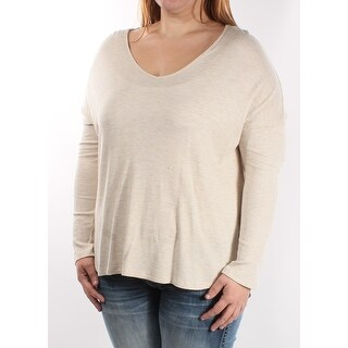 Womens Ivory Long Sleeve Scoop Neck Casual Top Size XL