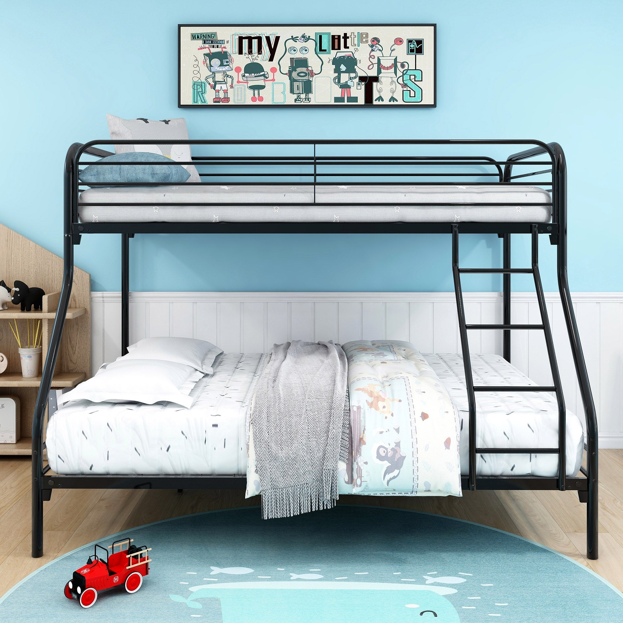 Black Heavy Duty Twin Over Full Metal Bunk Bed With Enhanced Upper Level Guardrail Overstock 34061156