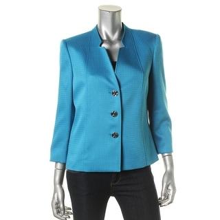 Tahari ASL Womens Textured Woven Three-Button Blazer