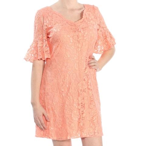 DKNY Orange Short Sleeve Knee Length Dress 10