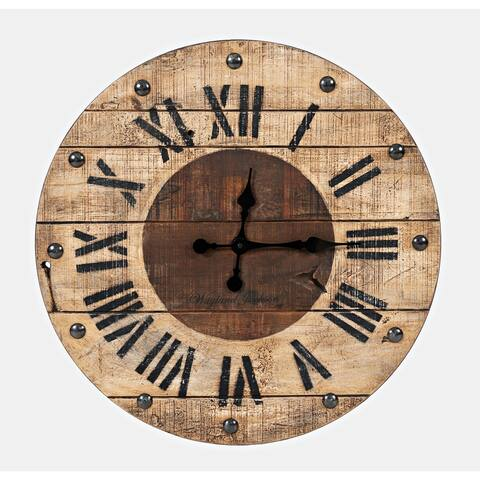 Wayland Jackson Solid Teak 24-inch Clock