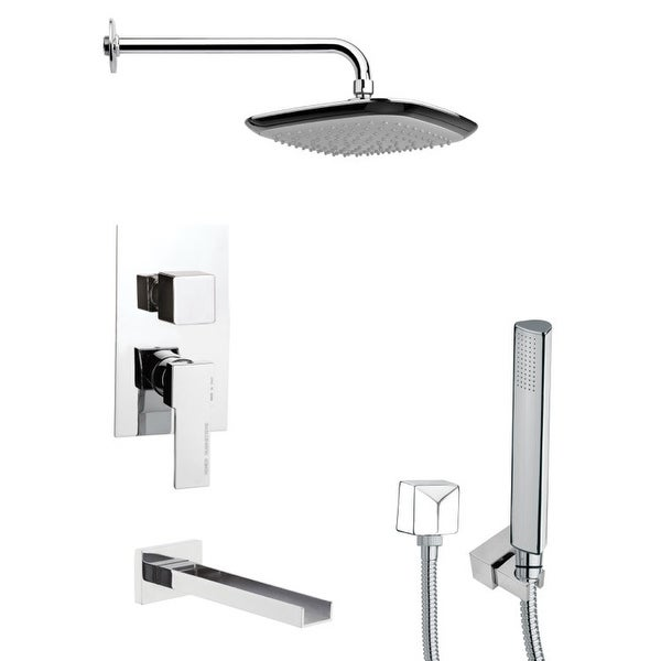 Nameeks TSH4113 Remer Tub and Shower Package with Single Function Rain Shower Head, Handshower, and Tub Spout - Chrome