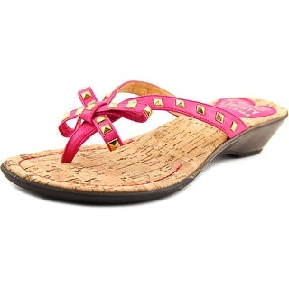 Love and Liberty Sofia Women Open Toe Leather Pink Thong Sandal