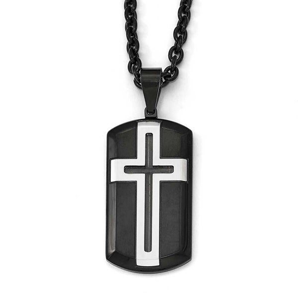 Chisel Stainless Steel Brushed and Polished Black IP-Plated Cross Necklace - 24 in