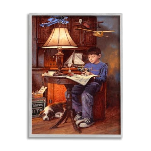 Stupell Industries Boy with Model Airplanes Pet Dog Blue Brown Framed Wall Art