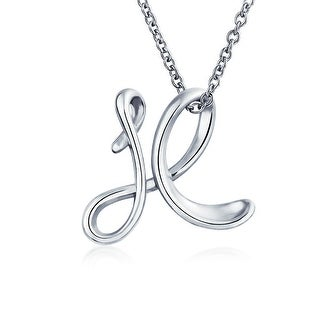Bling Jewelry Sterling Silver Letter X Script Initial Pendant Necklace 18 inches