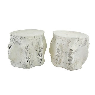 Pair of Distressed Finish Whale Vertebra Bookends - beige