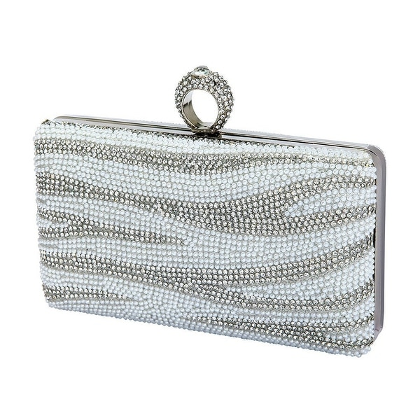 Shop De Blossom Womens Silver Shiny Pearl Rhinestone Adorned Hard Shell Clutch  Bag - One size - Free Shipping Today - Overstock - 18449901 cdc60acc5d57