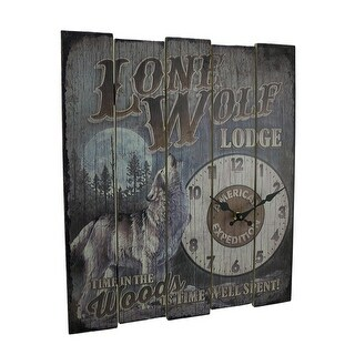 Rustic Lone Wolf Lodge Wood Wall Clock 18 inch