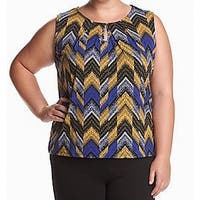 Kasper Blue Gold  Womens Size 3X Plus Keyhole Sleeveless Blouse