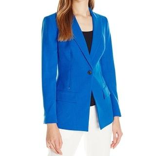 Anne Klein NEW Blue Women 10 Single-Button Zip-Pocket Blazer Jacket