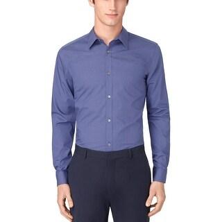 Calvin Klein Alum Purple Mini Checked Non Iron Shirt XX-Large