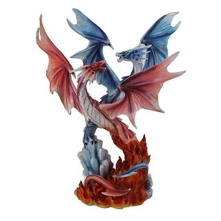 Fire & Ice Red and Blue Entwined Dragons In Mid-Air Battle Statue 15 in. - 15.5 X 12 X 5.5 inches