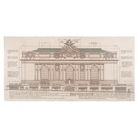 ''Grand Central Station, Facade (small)'' by Roger Vilar Architecture Art Print (14 x 26 in.)