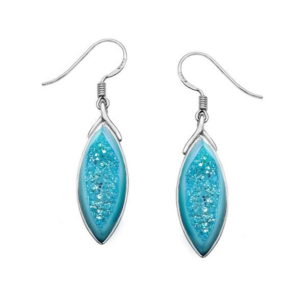 Sajen Golden Paraiba Druzy Earrings in Sterling Silver - Blue
