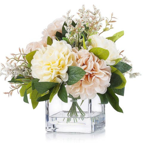 Enova Home Artificial Silk Dahlia Flower Arrangement in Clear Glass Vase With Faux Water For Home Office Decoration - N/A