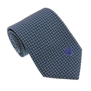 Versace Green Woven Zigzag Contrast Tie