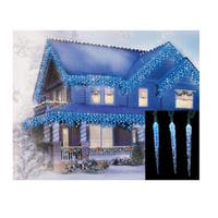 Set of 10 Blue and White Color Changing LED Icicle Christmas Lights - Green Wire