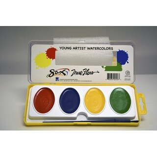 Sax True Flow Young Artist Extra Large Pans Watercolor Set, 4 Assorted Colors