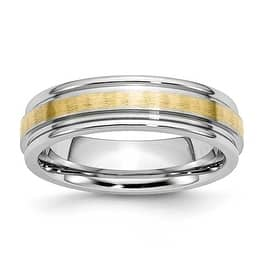 Chisel Cobalt Chromium 14k Gold Inlay Satin Polish 6mm Band