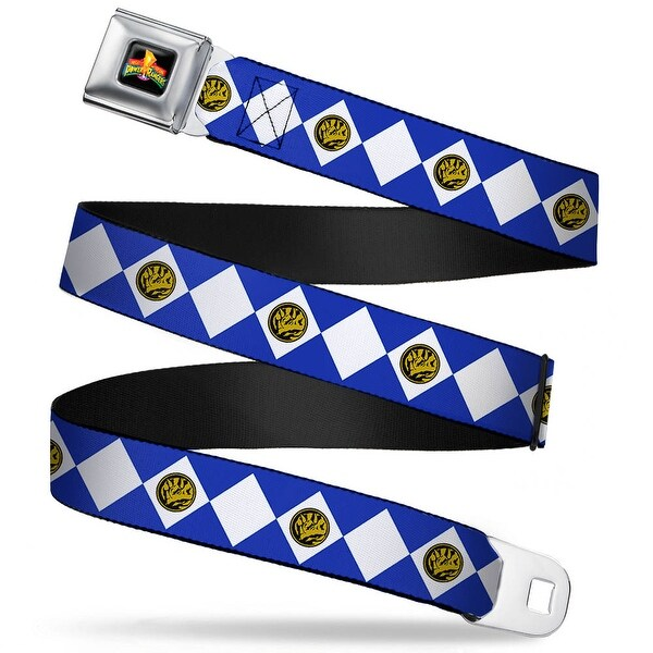 Power Rangers Logo Full Color Blue Ranger Diamonds Webbing Seatbelt Belt Seatbelt Belt