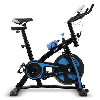 AKONZA Indoor Cycle Bike 440LBS Stationary Exercise Adjustable Bike with LCD Monitor and Water Bottle for Indoor, Blue