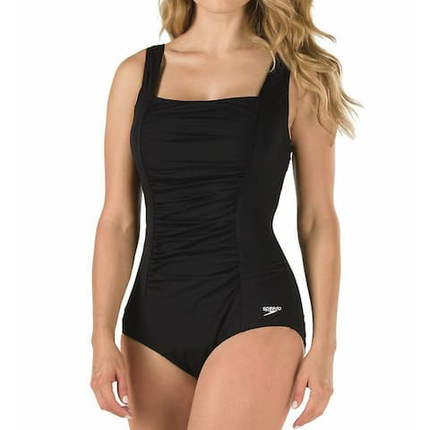 Speedo Womens Swimwear Jet Black Size 14 Shirred One-Piece Swimsuit