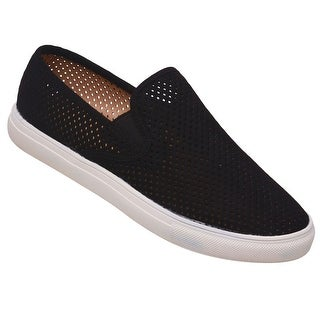 Anna Adult Black Laser Cut Perforation Slip-On Trendy Sneakers