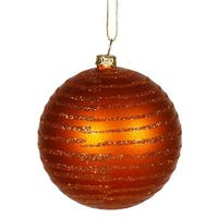 Burn Orange Matte Glitter Ball Ornament, 4.75 in. - 3 per Box