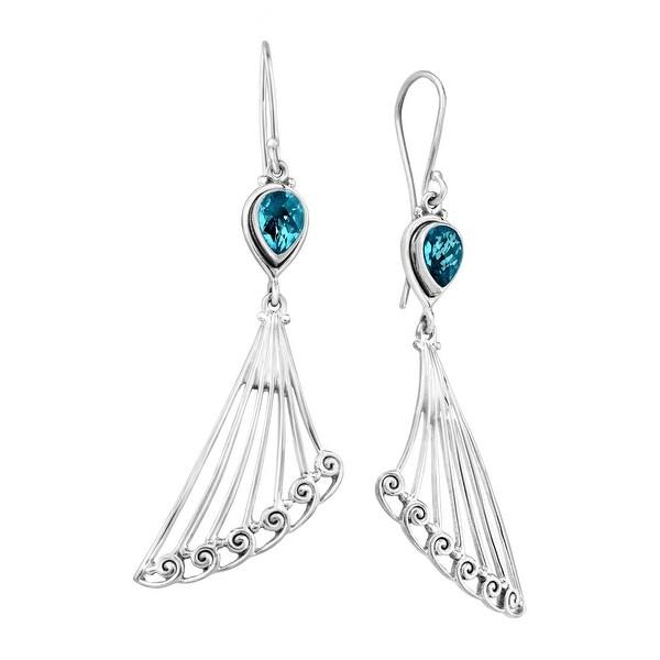 Sajen Celestian Paraiba Quartz Winged Earrings in Sterling Silver