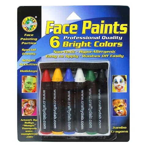 (6 Pk) Crafty Dab Jumbo Crayon Face Bright Paints 6 Per Pk