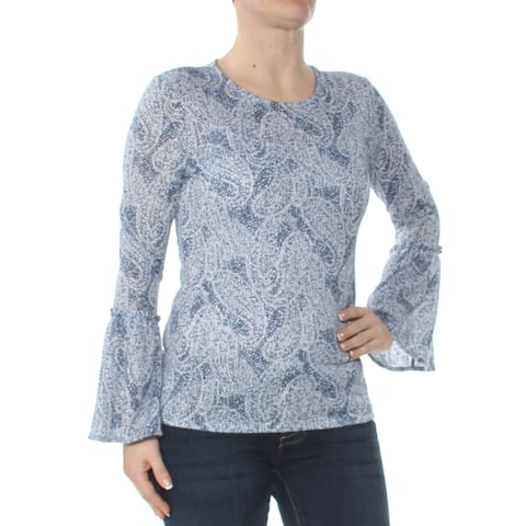 MICHAEL KORS Womens Blue Paisley Bell Sleeve Jewel Neck Top Size: S
