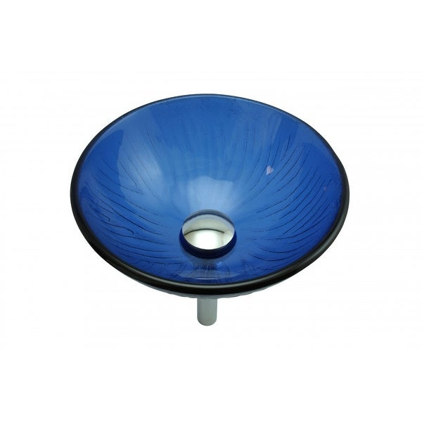 Glass Vessel Sink With Drain Frosted Blue Tempered Glass Mini Bowl Sink    Free Shipping Today   Overstock.com   20575570