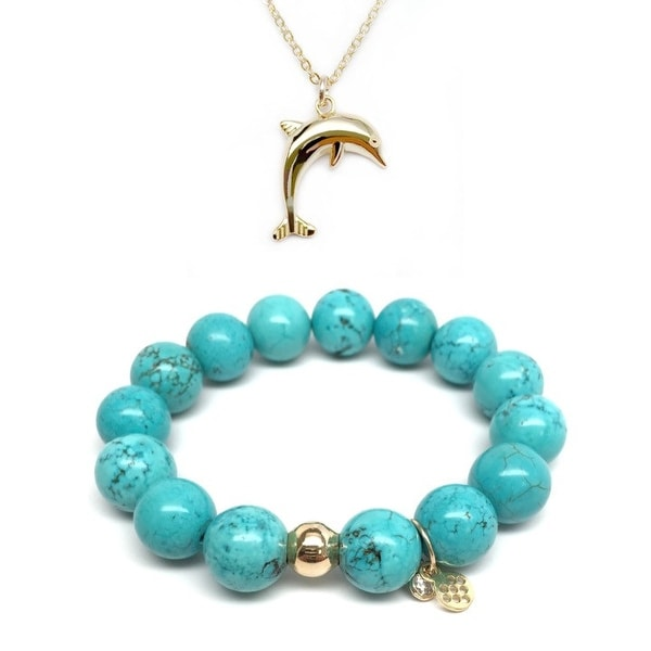 "Turquoise Magnesite 7"" Bracelet & Dolphin Gold Charm Necklace Set"