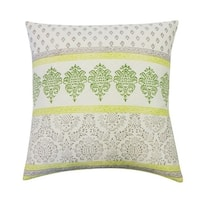 Vivai Home Green Paisley Stamp Horizontal Square 24x 24 Cotton Feather Pillow