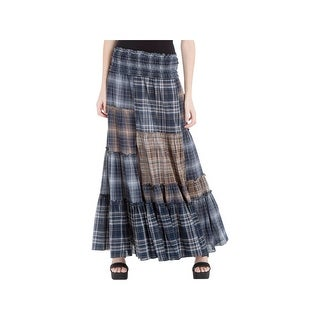 Max Studio London Womens Maxi Skirt Plaid Patchwork