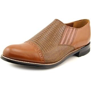 Stacy Adams Madison Slip On Men 2E Round Toe Leather Tan Oxford