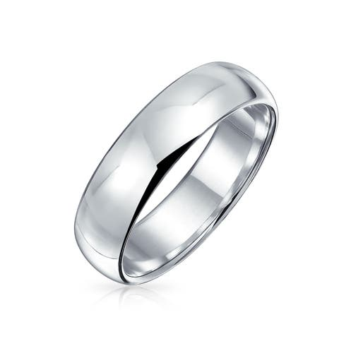 Classic Style 925 Sterling Silver Polished Finish Wedding Band Ring For Men For Women 5mm